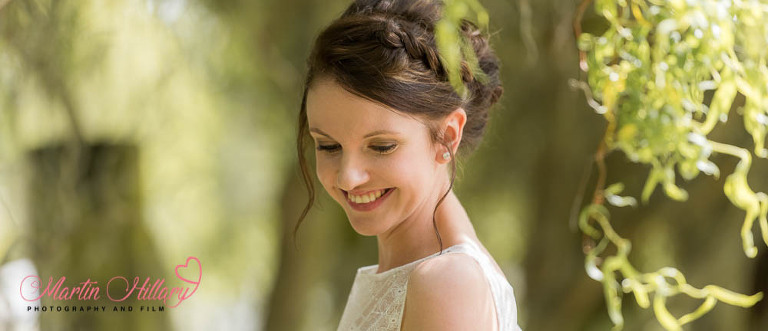 The stunning bride in the sunshine at York Maze